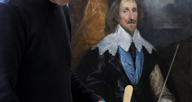 Carl Villis, Senior Conservator of Photographs, National Gallery of Victoria working on Anthony van Dyck's Philip Herbert, 4th Earl of Pembroke c. 1634, using the MS3 Resin.    . Credit: National Gallery of Victoria
